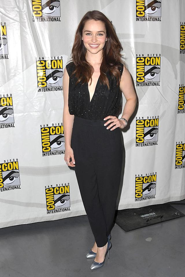 "Emilia Clarke  participates in HBO's ""Game Of Thrones"" Panel  - Comic-Con International 2012  held  at San Diego Convention Center on July 12, 2012 in San Diego, California."