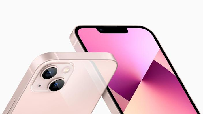 Apple's iPhone 13 smartphone, the 2021 iPhone model, is pictured.