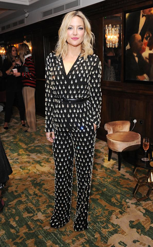 <p>At the Michael Kors/Vanity Fair party at The Ivy in London, Hudson looked stunning in a heavily embellished black pajama set from the designer's Fall 2015 collection. <br /><br /></p>