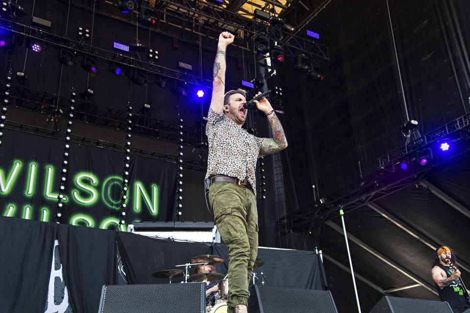 Chad Nicefield of Wilson performs during Louder Than Life at Highland Festival Grounds at KY Expo Center on Friday, Sept. 27, 2019, in Louisville, Ky. (Photo by Amy Harris/Invision/AP)