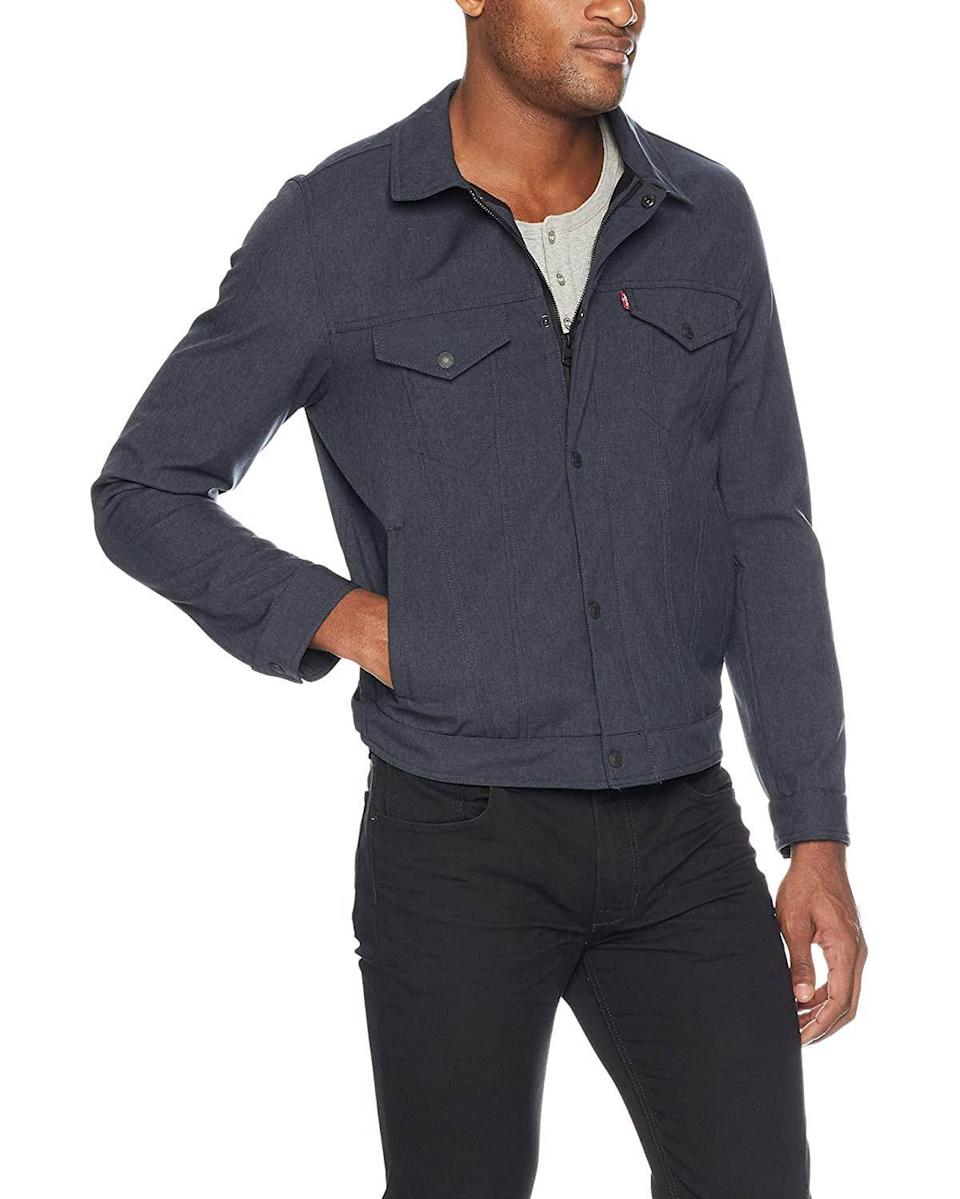 """<p><strong>Levi's</strong></p><p>amazon.com</p><p><strong>$32.10</strong></p><p><a href=""""https://www.amazon.com/dp/B079788RQ7?tag=syn-yahoo-20&ascsubtag=%5Bartid%7C10054.g.34073873%5Bsrc%7Cyahoo-us"""" rel=""""nofollow noopener"""" target=""""_blank"""" data-ylk=""""slk:Shop Now"""" class=""""link rapid-noclick-resp"""">Shop Now</a></p><p>And if you're looking to soften up, this lightweight take on the trucker is perfect for tossing on over a T-shirt right now and layering under a topcoat when it really gets cold.</p>"""