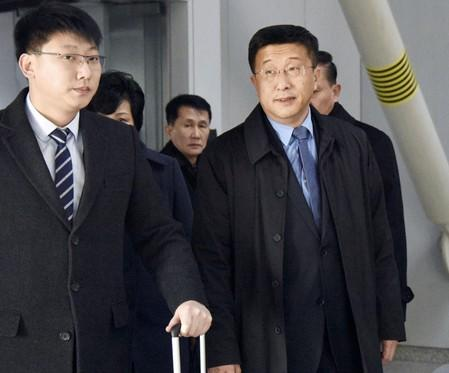 Kim Hyok Chol, North Korea's interlocutor leading negotiations with the United States, is pictured upon arrival at Beijing's international airport on his way to the Vietnamese capital Hanoi, in Beijing