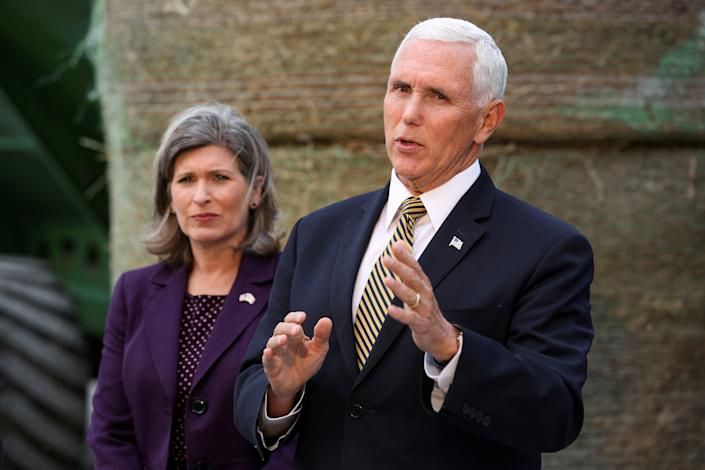 U.S. Vice President Mike Pence answers questions from the press about the whistleblower and President Trump's call with the president of Ukraine following his remarks on the United States, Mexico, Canada Agreement (USMCA) at Manning Farms in Waukee, Iowa, U.S., October 9, 2019.   (Photo: Brenna Norman/Reuters)