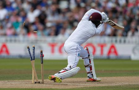 Cricket - England vs West Indies - First Test - Birmingham, Britain - August 19, 2017   West Indies' Shai Hope is bowled out by England's Toby Roland-Jones   Action Images via Reuters/Paul Childs