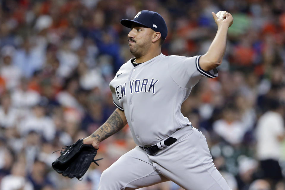 New York Yankees starting pitcher Nestor Cortes throws to a Houston Astros batter during the first inning of a baseball game Friday, July 9, 2021, in Houston. (AP Photo/Michael Wyke)