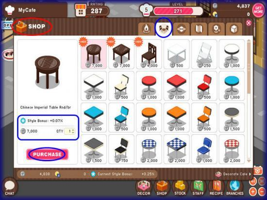 World Chef Shop tables and chairs