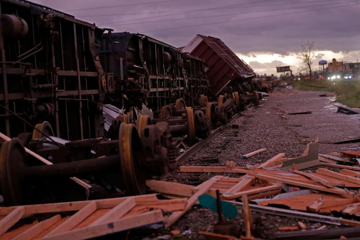 Derailed boxcars in Panama City.