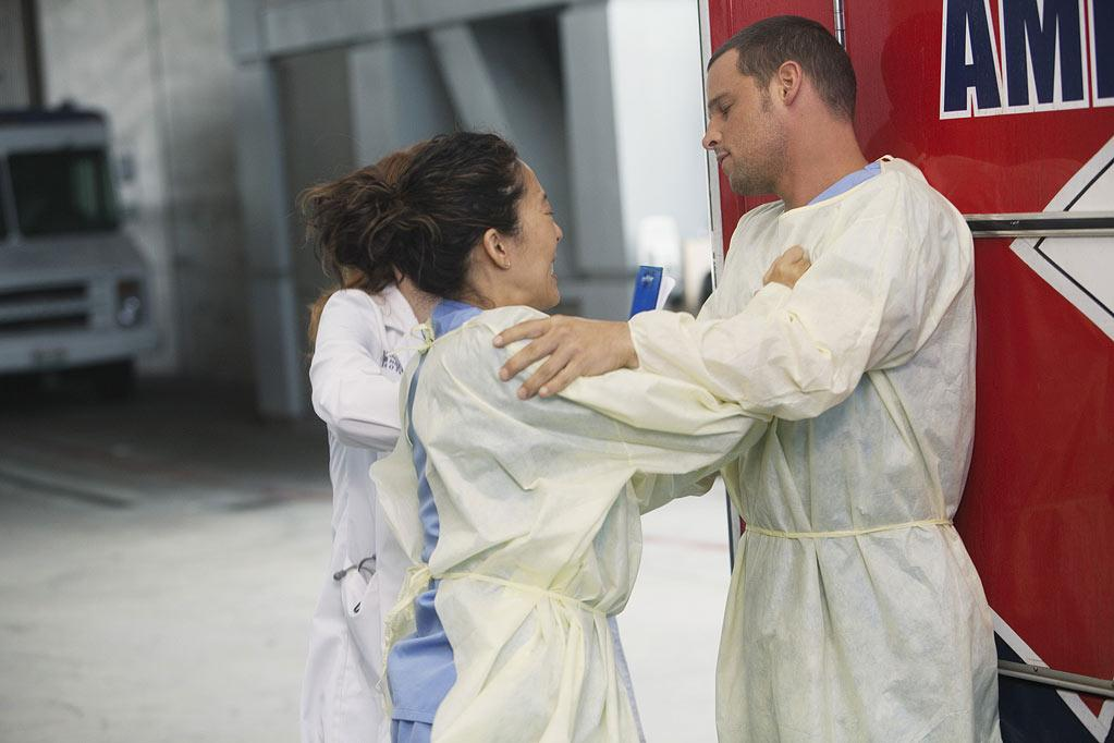 "GREY'S ANATOMY - ""Free Falling"" - In the first hour, ""Free Falling"" (9:00-10:00 p.m.), the fifth-year residents return for the first day of a year that will make or break their careers: Meredith faces the consequences of tampering with Derek's clinical trial and is terminated at the hospital; April tries to step up to the plate as Chief Resident in the wake of a giant sinkhole in the middle of Seattle; and Cristina and Owen are still at odds over their drastically different feelings for their unborn child. ""Grey's Anatomy"" returns for its eighth season with a two-hour event THURSDAY, SEPTEMBER 22 (9:00-11:00 p.m., ET) on the ABC Television Network. (ABC/RANDY HOLMES) SANDRA OH, JUSTIN CHAMBERS Grey's Anatomy"