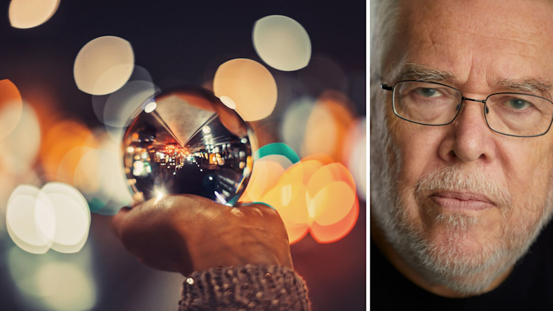 On the left, a woman's hand is holding a large mirrored ball. The background is abstract. On the right, Dr Richard Hames' face is pictured. He is looking solemn and wearing glasses.