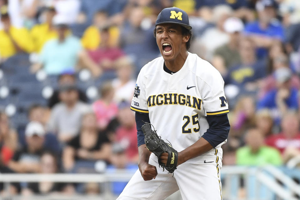 Isaiah Paige, a right-handed pitcher for Michigan seen here celebrating an out recorded against Vanderbilt in the 2019 College World Series, released a TikTok video this week with a message of hope about how baseball has united him with his teammates. (Photo by Justin Tafoya/NCAA Photos via Getty Images)