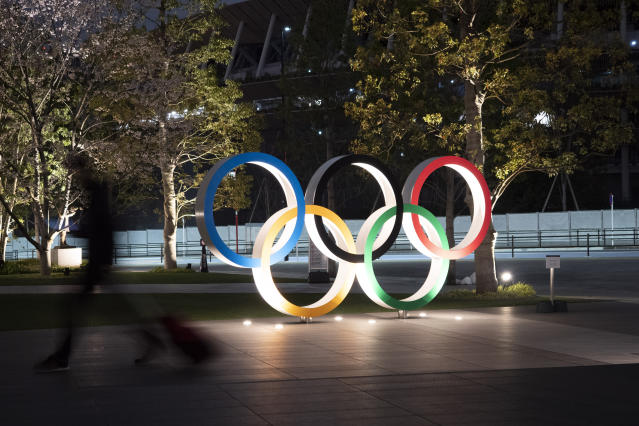 The Olympic rings are seen Monday, March 30, 2020, in Tokyo. The Tokyo Olympics will open next year in the same time slot scheduled for this year's games. Tokyo organizers said Monday the opening ceremony will take place on July 23, 2021. (AP Photo/Jae C. Hong)