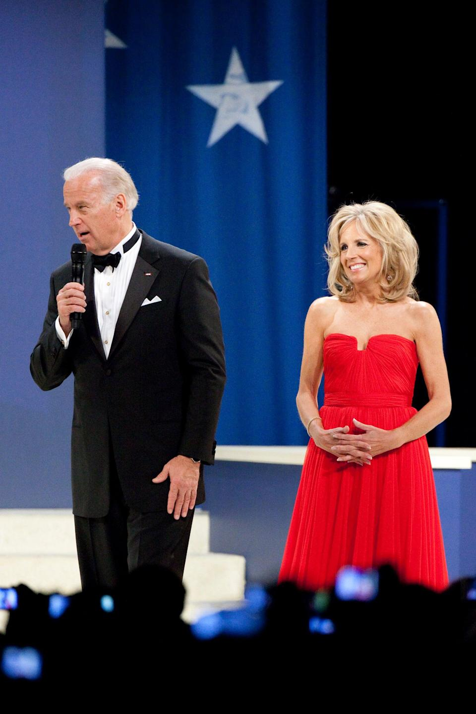 <p>Dr. Biden wore this red dress by Lebanese designer Reem Acra for the Inaugural Ball celebrating US President Barack Obama in 2009. Acra used her studies of culture and world travel to influence the label she launched with her very first bridal collection from New York in 1997.</p>