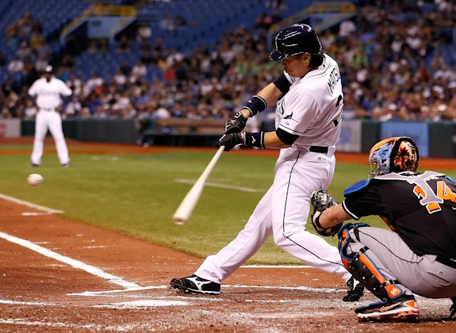 ST. PETERSBURG - JUNE 16: Designated hitter Hideki Matsui #35 of the Tampa Bay Rays bats against the Miami Marlins during the game at Tropicana Field on June 16, 2012 in St. Petersburg, Florida. (Photo by J. Meric/Getty Images)