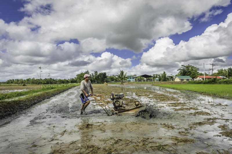 FILE PHOTO: Man preparing the land to cultivate rice, Panay island, Philippines. (Photo: Jorge Fernández/LightRocket via Getty Images)