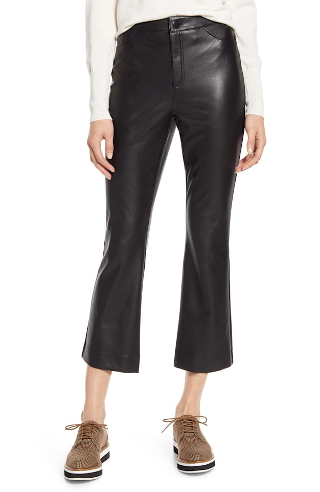 """<p>The flare silhouette on these <a href=""""https://www.popsugar.com/buy/Halogen-x-Atlantic-Pacific-Crop-Faux-Leather-Pants-541918?p_name=%20Halogen%20x%20Atlantic-Pacific%20Crop%20Faux%20Leather%20Pants&retailer=shop.nordstrom.com&pid=541918&price=59&evar1=fab%3Aus&evar9=47129461&evar98=https%3A%2F%2Fwww.popsugar.com%2Fphoto-gallery%2F47129461%2Fimage%2F47129670%2FHalogen-x-Atlantic-Pacific-Crop-Flare-Faux-Leather-Pants&list1=shopping%2Cwinter%2Cpants%2Cleather%2Cwinter%20fashion%2Cfashion%20shopping&prop13=api&pdata=1"""" rel=""""nofollow"""" data-shoppable-link=""""1"""" target=""""_blank"""" class=""""ga-track"""" data-ga-category=""""Related"""" data-ga-label=""""https://shop.nordstrom.com/s/halogen-x-atlantic-pacific-crop-flare-faux-leather-pants-nordstrom-exclusive/5322968/full?origin=keywordsearch-personalizedsort&amp;breadcrumb=Home%2FAll%20Results&amp;color=black"""" data-ga-action=""""In-Line Links""""> Halogen x Atlantic-Pacific Crop Faux Leather Pants </a> ($59) is so easy to style.</p>"""