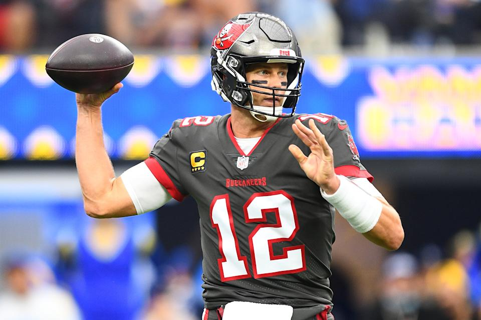 Tampa Bay Buccaneers quarterback Tom Brady will face the Patriots for the first time on Sunday. (Photo by Brian Rothmuller/Icon Sportswire via Getty Images)