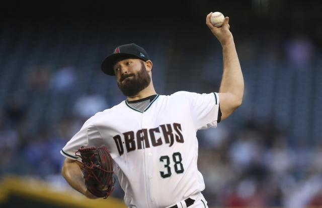 Arizona Diamondbacks starting pitcher Robbie Ray throws against the Los Angeles Dodgers during the first inning of a baseball game, Tuesday, June 25, 2019, in Phoenix. (AP Photo/Ross D. Franklin)