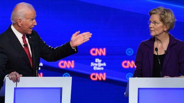 PHOTO: Democratic presidential hopefuls Joe Biden gestures at Elizabeth Warren during the fourth Democratic primary debate at Otterbein University in Westerville, Ohio, Oct. 15, 2019. (Saul Loeb/AFP/Getty Images)