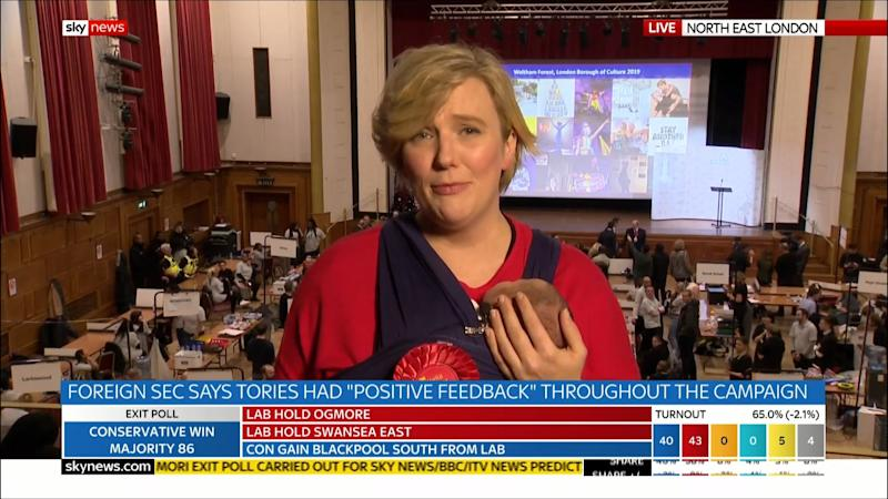 Labour MP Stella Ceasy was holding her two-week-old baby during a Sky News interview: Sky News