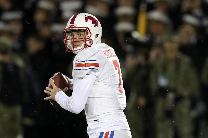 SMU QB Shane Buechele has revived his career and is on NFL scouts' radars. (Photo by Rob Carr/Getty Images)