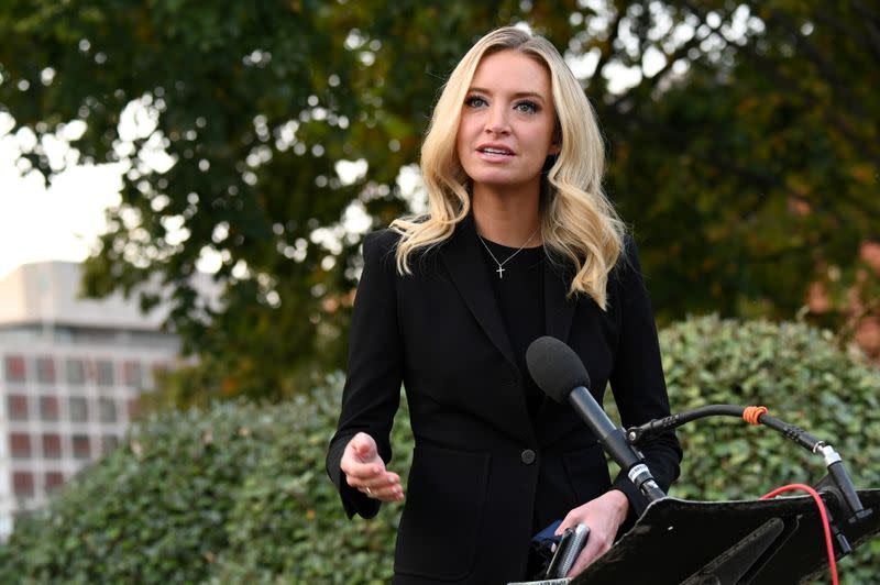 FILE PHOTO: White House Press Secretary Kayleigh McEnany speaks to members of the media at the White House in Washington