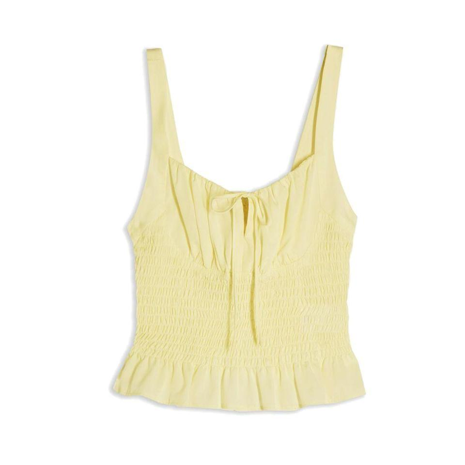 """<p><strong>TOPSHOP</strong></p><p>nordstrom.com</p><p><a href=""""https://go.redirectingat.com?id=74968X1596630&url=https%3A%2F%2Fwww.nordstrom.com%2Fs%2Ftopshop-smocked-ruffle-cami%2F5746815&sref=https%3A%2F%2Fwww.elle.com%2Ffashion%2Fshopping%2Fg36462948%2Fnordstrom-half-yearly-sale-2021%2F"""" rel=""""nofollow noopener"""" target=""""_blank"""" data-ylk=""""slk:Shop Now"""" class=""""link rapid-noclick-resp"""">Shop Now</a></p><p><strong><del>$38</del> $25 (33% off)</strong></p>"""