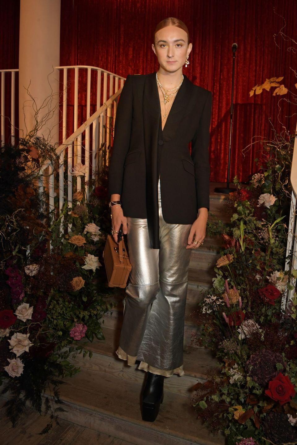 """<p><strong>22 September</strong></p><p>Harris Reed wore metallic trousers and pieces from their <a href=""""https://www.harpersbazaar.com/uk/fashion/jewellery-watches/a37594255/harris-reed-missoma-jewellery-interview/"""" rel=""""nofollow noopener"""" target=""""_blank"""" data-ylk=""""slk:new jewellery collaboration with Missoma"""" class=""""link rapid-noclick-resp"""">new jewellery collaboration with Missoma</a> to celebrate the launch of the collection at Old Sessions House in London. </p>"""