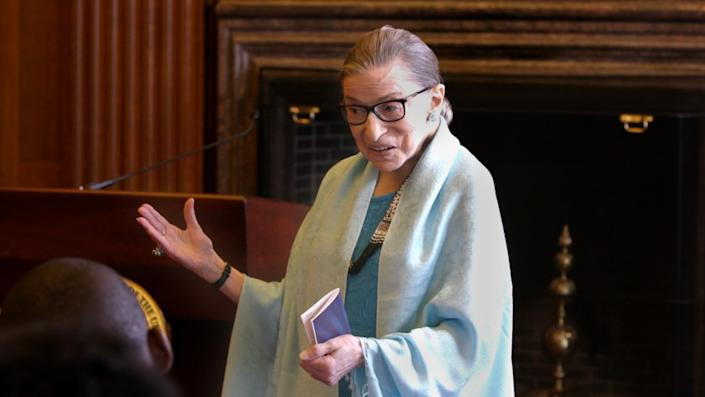 """Supreme Court Justice Ruth Bader Ginsburg in her office, in the movie """"RBG."""" MUST CREDIT: Magnolia Pictures"""