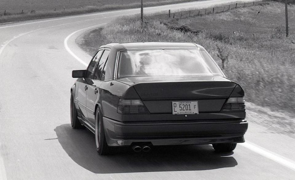 """<p>AMG repeated the formula with the Hammer, taking the 300E, a mild-mannered luxury sedan on the Mercedes W124 E-class platform, yanked out the fine straight-six, and plonked in a 5.5-liter V-8 engine from the S-class. But AMG didn't stop there, swapping the SOHC heads for a pair of twin-cam units they'd cobbled together themselves and gaining 60 horsepower in the process, for a total of 355. As <a href=""""https://www.caranddriver.com/reviews/a15141447/mercedes-benz-amg-hammer-archived-test-review/"""" rel=""""nofollow noopener"""" target=""""_blank"""" data-ylk=""""slk:we pointed out in 1986"""" class=""""link rapid-noclick-resp"""">we pointed out in 1986</a>, """"That's 125 more than America's hoo-boy Corvette."""" We then proceeded to hit 178 mph in it.</p>"""