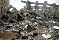 Al-Jalaa Tower in Gaza City was levelled by an Israeli air strike