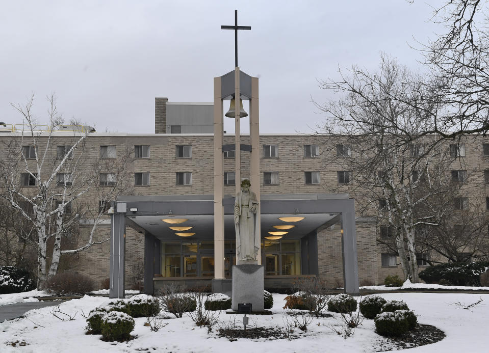 Exterior view of the St. Joseph's Provincial House, Tuesday, Jan. 5, 2021, in Latham, N.Y. The home for retired and infirm nuns lost nine residents to COVID-19 during December as the coronavirus pandemic's second wave surged in upstate New York. (AP Photo/Hans Pennink)
