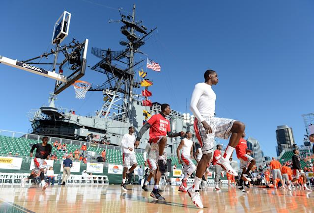 SAN DIEGO, CA - NOVEMBER 11: The San Diego State Aztecs warm up before their game aginst the Syracuse Orange on the USS Midway on November 11, 2012 in San Diego, California. (Photo by Harry How/Getty Images)
