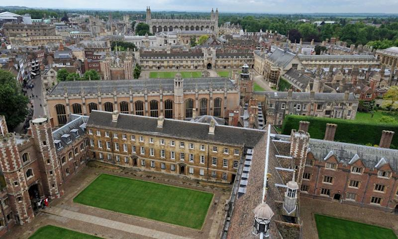 Aerial view of some Cambridge University buildings