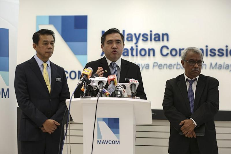 Transport Minister Anthony Loke speaks during a press conference at the Mavcom headquarters in Kuala Lumpur September 4, 2018. ― Picture by Azneal Ishak