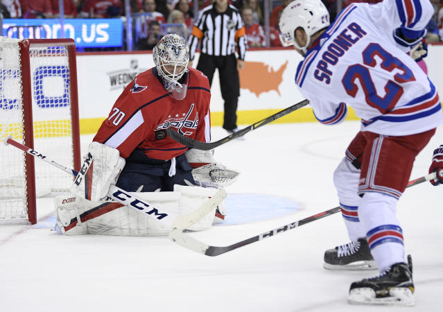 Washington Capitals goaltender Braden Holtby (70) stops a shot by New York Rangers center Ryan Spooner (23) during the second period of an NHL hockey game, Wednesday, Oct. 17, 2018, in Washington. The Capitals won 4-3 in overtime. (AP Photo/Nick Wass)