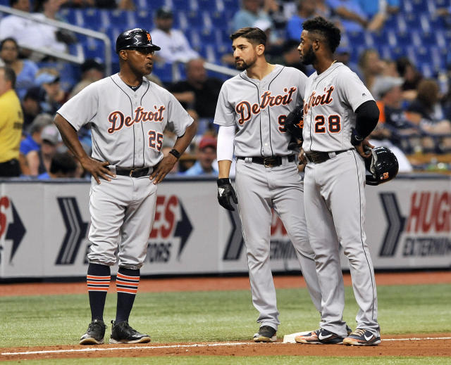 "Third-base coach Dave Clark (left) talks to Detroit's two best hitters, <a class=""link rapid-noclick-resp"" href=""/mlb/players/9108/"" data-ylk=""slk:Nicholas Castellanos"">Nicholas Castellanos</a> and <a class=""link rapid-noclick-resp"" href=""/mlb/players/10810/"" data-ylk=""slk:Niko Goodrum"">Niko Goodrum</a> (AP/Steve Nesius)"