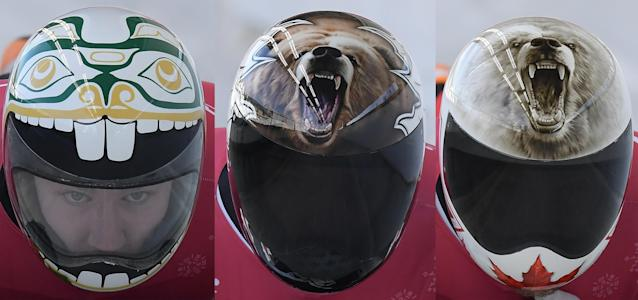 <p>Canada's helmets feature two roaring bears and, uh, we're not entirely sure what the third helmet is, but it's wild. </p>