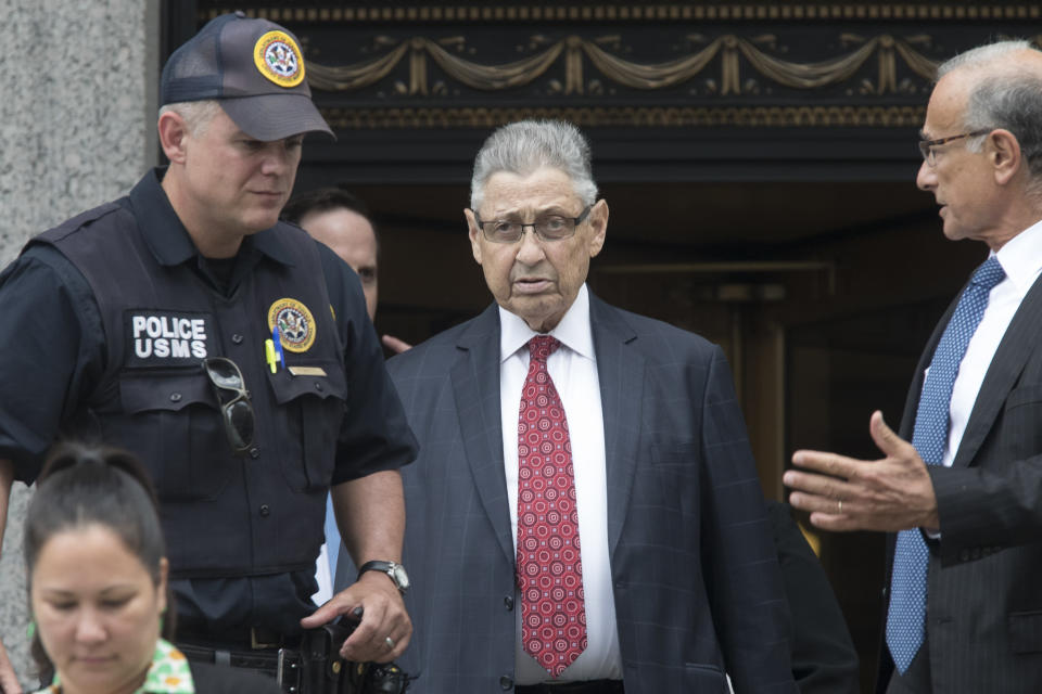 FILE - In this July 27, 2018 file photo, former New York Assembly Speaker Sheldon Silver, enter, leaves federal court in New York after his sentencing, Friday, July 27, 2018. Silver has been released from a federal prison on furlough, while he awaits potential placement to home confinement. That's according to a person familiar with the matter who spoke with The Associated Press on Tuesday (AP Photo/Mary Altaffer)