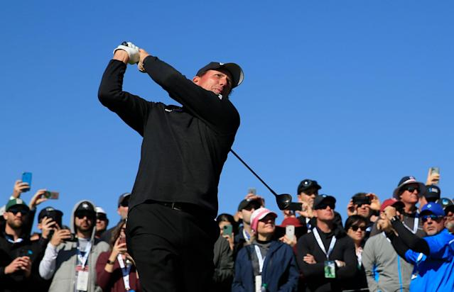 "<div class=""caption""> Phil Mickelson plays his shot from the ninth tee during the final round of the 2020 AT&T Pebble Beach Pro-Am. </div> <cite class=""credit"">Chris Trotman/Getty Images</cite>"