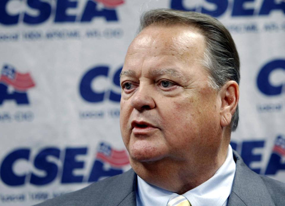 FILE - In this Aug. 16, 2011 file photo, Civil Service Employees Association union president Danny Donohue speaks in Albany, N.Y. A heated battle is taking place inside the American Federation of State, County and Municipal Employees after its failed effort this week to oust Wisconsin Gov. Scott Walker. At stake is the future direction of the 1.3-million-member government workers union following the labor movement's biggest political loss in three decades. (AP Photo/Mike Groll, File)