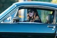 <p>Dakota Johnson hits the brakes on Saturday while out for a drive in Malibu.</p>