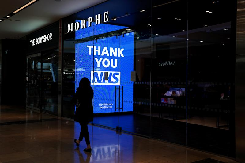 A general view of signage showing its appreciation to the NHS amid the coronavirus outbreak in London.