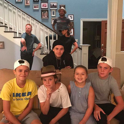 """<p>""""Dunphys are out, the Beckhams moved in,"""" the mom-of-four joked, as she and her hubby, David, and their brood went behind the scenes at the ABC hit show. """"The new modern family!,"""" she wrote. That's star Jesse Tyler Ferguson in the back, giving his best model pose. (Photo: <a rel=""""nofollow"""" href=""""https://www.instagram.com/p/BXoHsTMFE92/?taken-by=victoriabeckham"""">Victoria Beckham via Instagram</a>) </p>"""