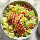 <p>Grilled salmon always plays well with a fresh, bright summertime salad. The tender, flaky salmon counters the crunchy cucumber salad while the rich fillet balances the saltiness of feta and the tang of the salad dressing. Serve the salmon warm or cold (your choice!) and pair the meal with a slice of crusty bread and a glass of wine.</p>