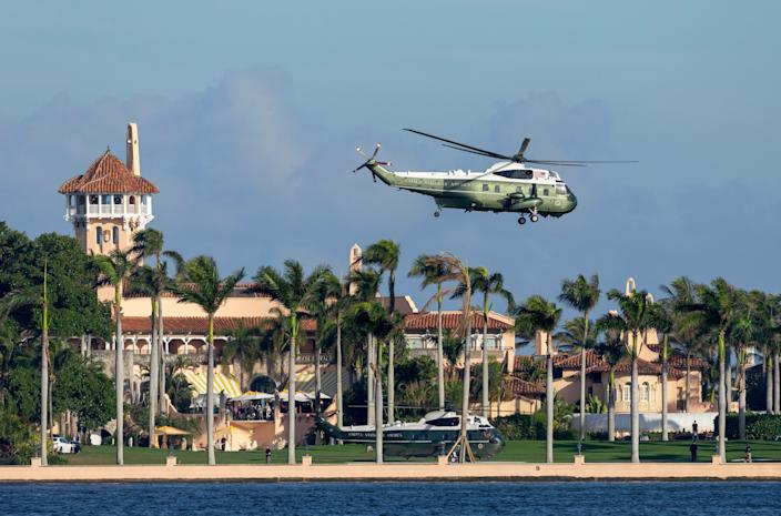 President Donald Trump takes off from Mar-a-Lago on Marine One in Palm Beach last January.