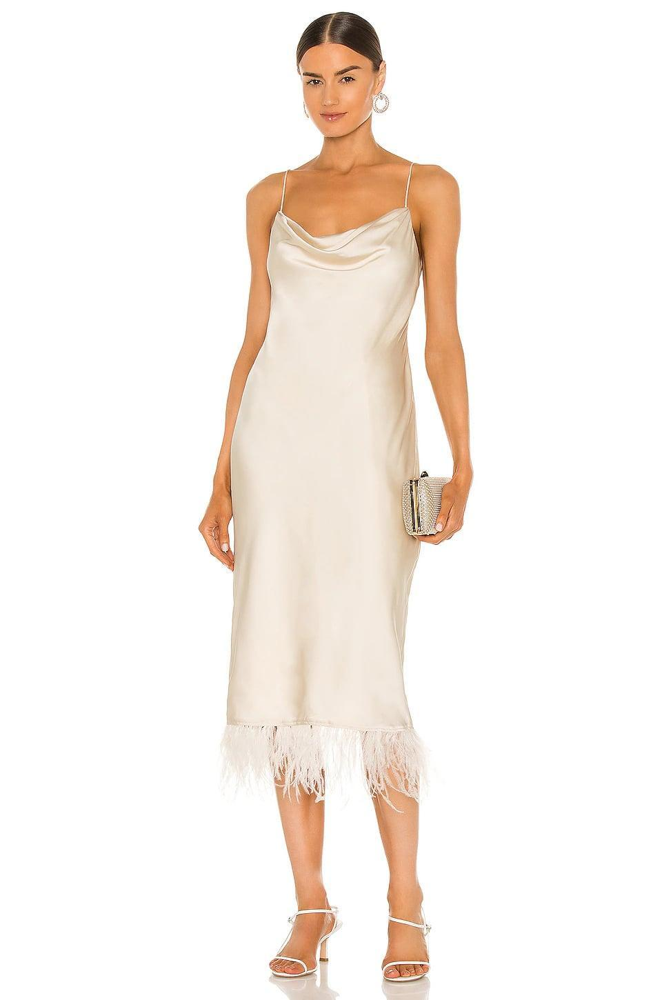 <p>How cute are the feathers on this <span>L'Academie The Mindy Midi Dress</span> ($258)?</p>