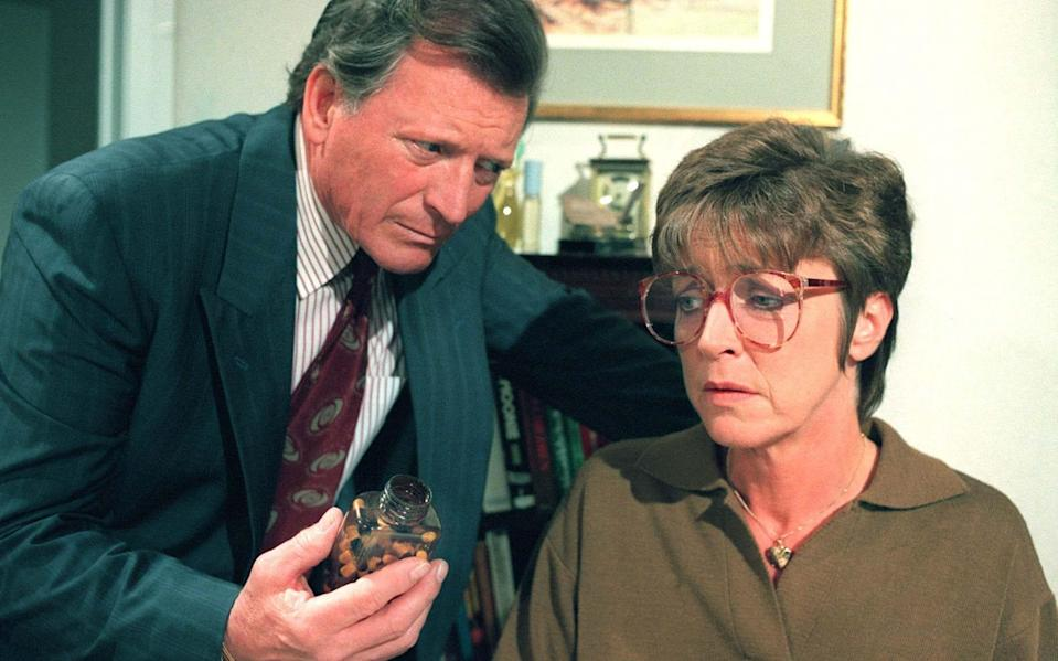 Mike Baldwin's feud with Ken Barlow reached its peak when Mike began an affair with Ken's wife Deidre (Anne Kirkbride) - Television Stills