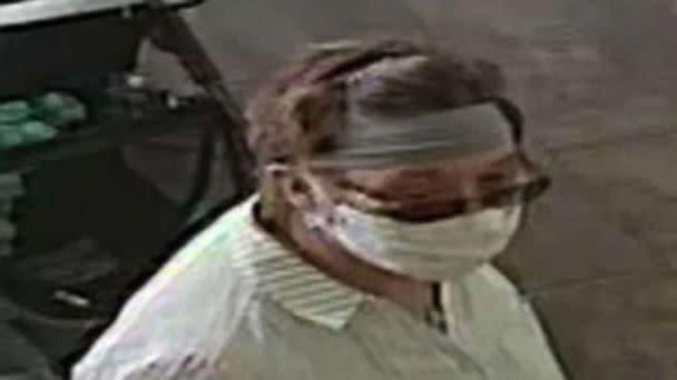 PHOTO: Police are looking for a white female in her 60s, medium build, wearing a gray bandana, glasses and a long sleeve shirt with gray vertical lines after she coughed on a 1-year-old baby at a Yogurtland in San Jose, California on June 12, 2020. (San Jose Police Department)
