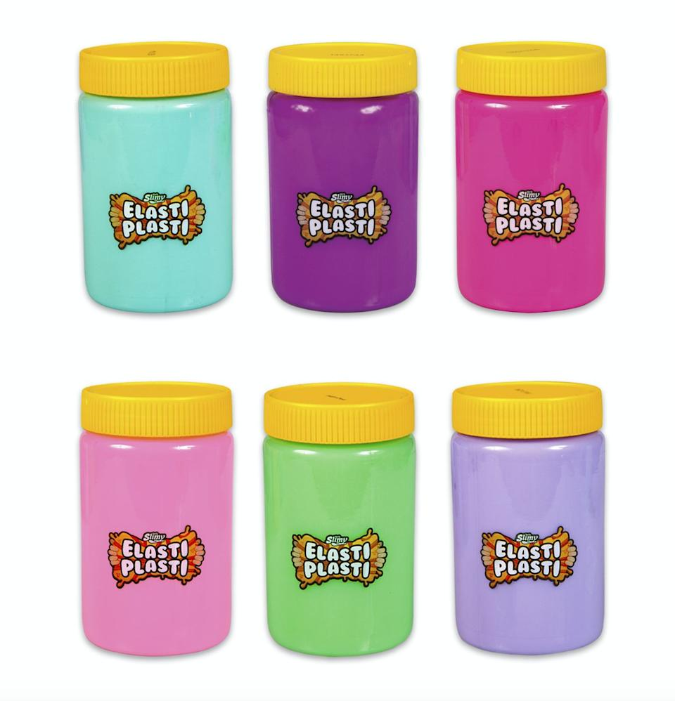 """It's slime... without the stickiness. It comes in different colours, you can stretch it as far as you want, and it makes a rude noise when you put in back in the pot. Lovely.<br />Price: £13<br />Ages: 5+<br /><a href=""""http://hamleys.com/elasti-plasti-slime-assortment.ir"""" target=""""_blank"""" rel=""""noopener noreferrer"""">Click here to buy</a>."""