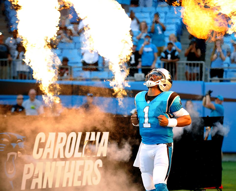Cam Newton in full Superman mode. (Dannie Walls/Icon Sportswire via Getty Images)